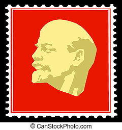 silhouette lenin on postage stamps