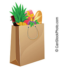 shopping bag with foods
