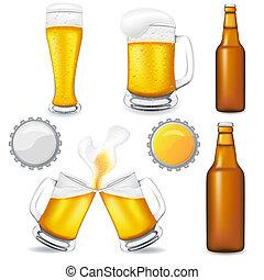 Conjunto, cerveza, vector, Ilustración