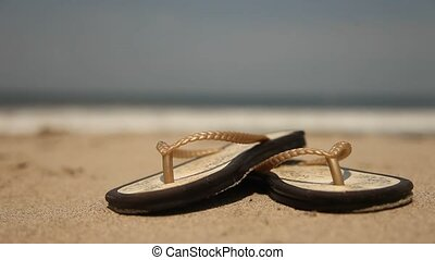 Woman At Beach With Flip-Flops
