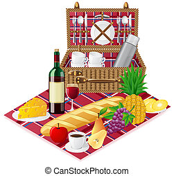 basket for a picnic with tableware and foods vector...