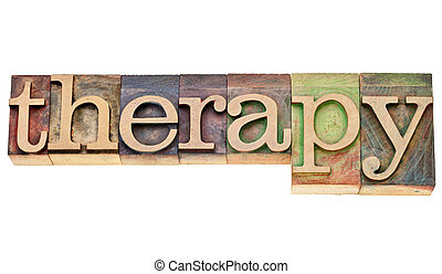 therapy word in letterpress type