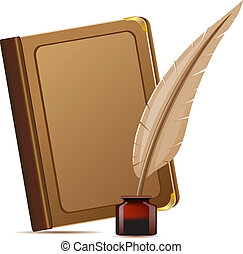 book and feather with inks vector illustration