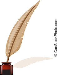 feather and ink-pot vector illustration
