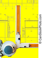 Drawing board with yellow blueprint