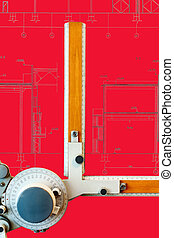 Drawing board with red blueprint
