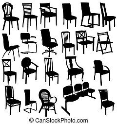 Set of Armchairs Silhouettes