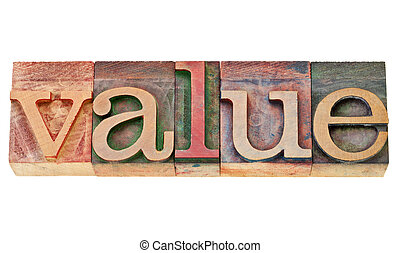 value word in letterpress type - value - isolated text in...