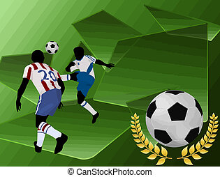 Football players on abstract green background, vector...