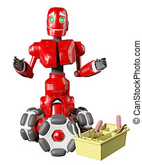 The red robot with a box of tools
