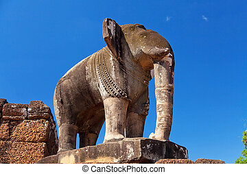 Elephant statue in Pre Rup temple in Angkor complex, Siem...