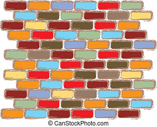 Bricks Of Color - abstract brick pattern with many colored...