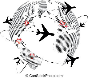 airplane around the world - illustration of airplane around...