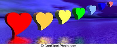 Hearts and chakras - Heart for each color chakra upon water...