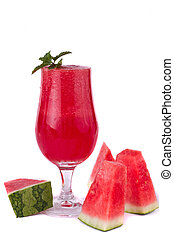 watermelon juice - Red fresh made watermelon juice isolated...