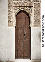 Arab door in the Alhambra in Grandda, Spain