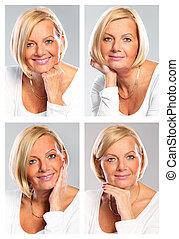 Four faces - A set of four portraits of a mature elegant...