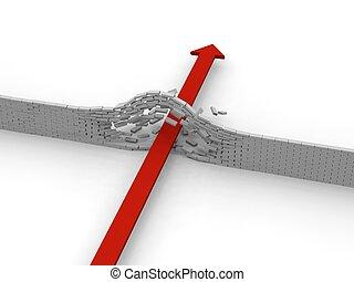 Arrow breaking through wall