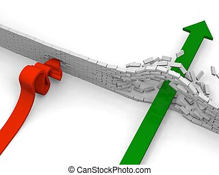 Obstacle - Arrow breaking through obstacle while the other...