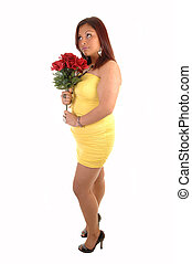 Full figured girl with roses. - A young lovely full figured...