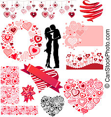 Valentine's, collection, different, hearts