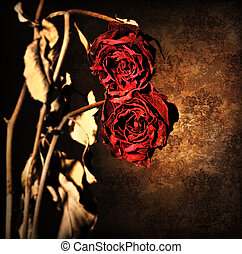 Grunge wilted roses border - Grunge wilted roses over...