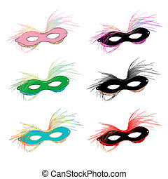 Mardi Gras masks - Mardi Gras carnival set of masks with...