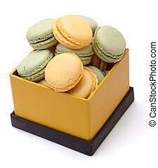 Colorful Macaron in paper box on white background