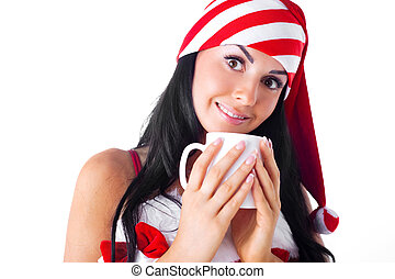 girl with a cup - beautiful young brunette woman dressed as...