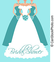 Bride and Bridesmaids in Blue - Vector illustration of a...