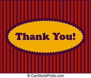 Thank You text in oval frame on stripped background