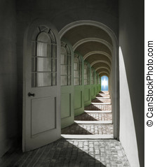Arched Doorway to Heaven - Arched doorways opening into...
