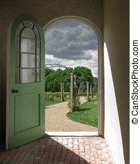 Arched Doorway to Rose Garden - Arched Doorway to Cloudy...