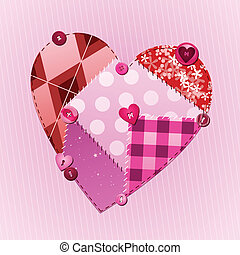 Fabric of love - Fabric swatches and buttons form a heart