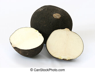 Cut black radish halves on grey background