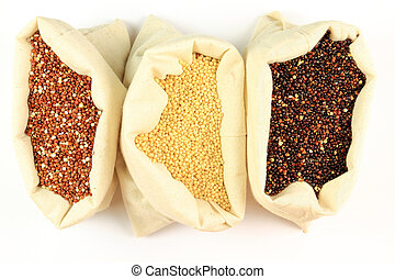 Organic Quinoa - Seeds of Red, White and Black Organic...