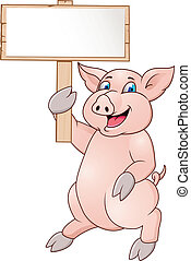 zabawny, świnia, rysunek