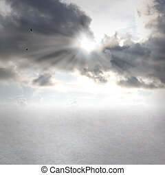 Cloudscapes with sunbeams - Gray clouds and sunbeams with...