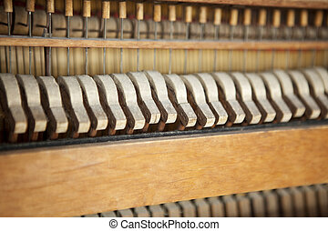 Antique Piano - Piano hammers and strings, antique piano,...