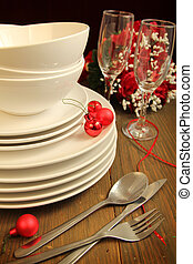 Dinner table - Plain white plates, bowls and glass of wine...