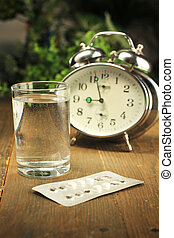 Birth control pills time - Birth control pills and a glass...