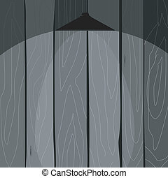 Vector  illustration of a wooden fence with a lamp