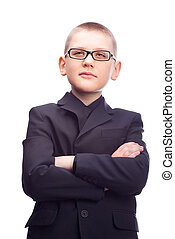 young businessman - ten year old blond boy wearing a...