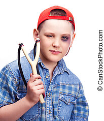 boy with a slingshot - naughty boy with a bruise under his...