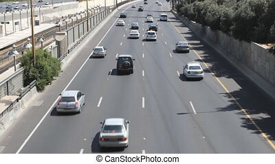 Tel aviv ayalon. Slow motion. Cars on lanes of highway
