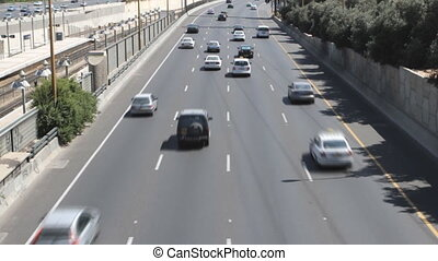 Tel aviv ayalon. Cars on lanes of highway