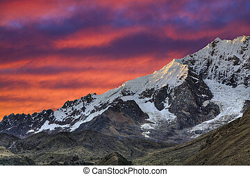Evening in the Andes - Last sunrays reflecting in the snow...