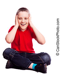 surprised boy - surprised ten year old boy, isolated against...