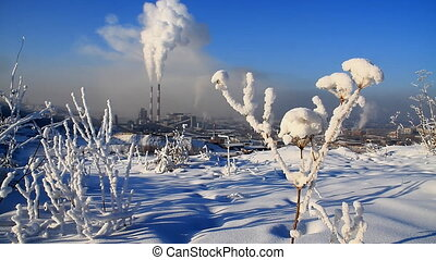 Power Station 7 - Smoke from an industrial pipe on a...