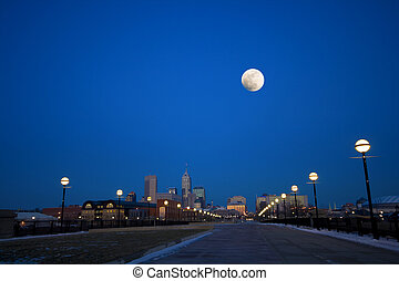 Night city - Indianapolis skyline shortly after sunset. View...